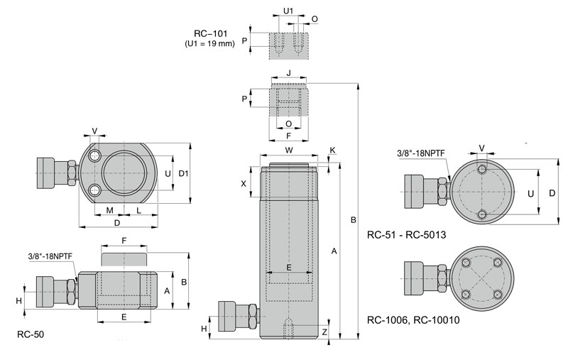 RC Series,General Purpose Hydraulic Cylinders Dimension