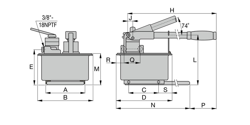 double-acting manual hydraulic pump